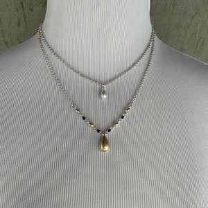 Vintage America double layer tear drop necklace